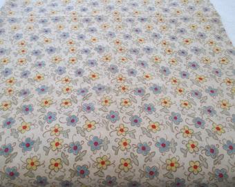"Vintage 70's Floral Fabric Wool Wool Blend Medium Weight 2 Yards X 60"" Aqua"