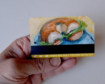 Art Oil Painting Bagel Lox and Cream Cheese  Recycled NYC Subway Card