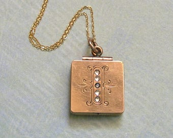 """Antique Victorian Locket Necklace With Initial """"I,"""" Antique Locket Necklace With I, Gold Filled Locket With Initial I (L268)"""
