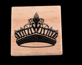 Princess Rubber Stamp, Crown Rubber Stamp, Royalty Rubber Stamp, Bridesmaid Rubber Stamp, Queen Stamp, Dress Up Stamp, Costume Stamp