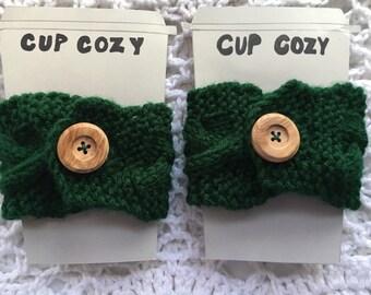 Coffee Cozies Set, Cabled Green Coffee Cozies, Cable Knit Coffee Cozies Set, Irish Coffee Cozies, Green Tea Cozies