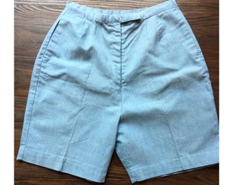 Vintage 50's Cotton Chambray High Waisted Shorts
