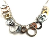 Statement Necklace Mixed Metal Hardware Jewelry Industrial Washers Charm Chain