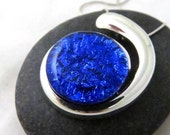 Ebb & Flow - Cobalt Blue Silver and Glass Necklace - Fused Glass Jewelry