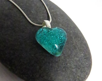 Aquamarine Blue Heart Necklace - Fused Glass Pendant