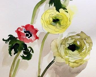Watercolor painting - Ranunculus + Anenomes Flower Study- original floral watercolor