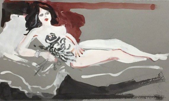 Mini Nude #33 -original watercolor painting by Gretchen Kelly