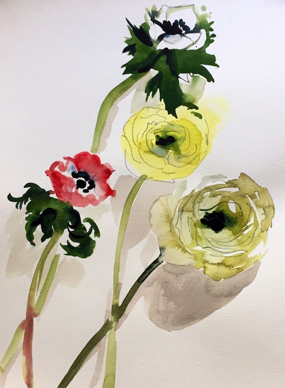 Watercolor painting - Ranunculus + Anenomes Flower Study- original floral watercolor