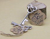 50 Silver Mickey Mouse Skeleton Keys With For You Tag Wedding Craft Supplies Jenuine Crafts