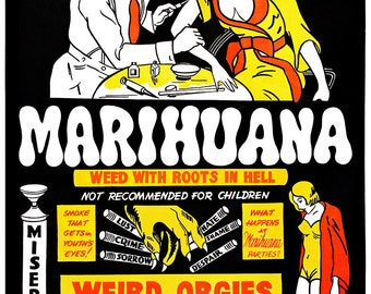 Vintage Remastered Weed Marijuana Drugs Orgies Party 1942 REMASTERED (with or without Frame) Various Sizes