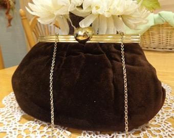 vintage brown velvet evening bag