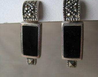 Onyx Marcasite Sterling Earrings Post Pierced Silver 925 Dangle