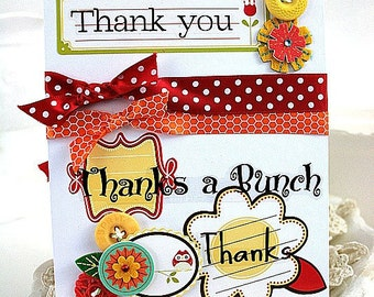 cottage chic card-THANK YOU thanks a BUNCH thanks-greeting
