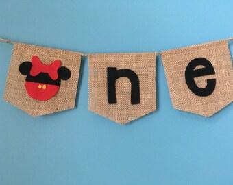 Minnie inspired ONE Banner ~burlap birthday banner ~minnie mouse inspired ~high chair banner ~cake smash ~photo prop burlap banner