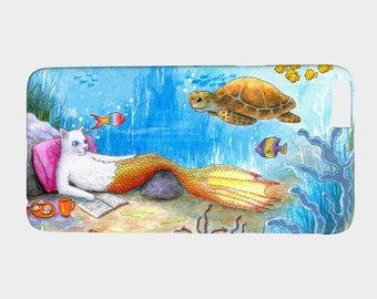 Cell Phone Case Cat Mermaid 31 sea turtle ocean fantasy art - Iphone 7, 6/6s Plus, 5/5s, Samsung Galaxy S7, S6, S5, S4, S3 by L.Dumas