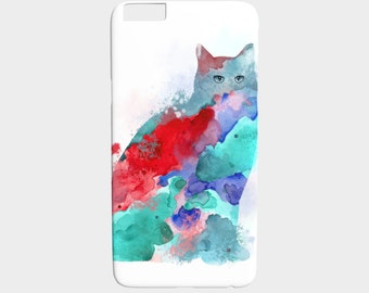 Cell Phone Case Cat 609 aqua blue red pink - Iphone 7, 6/6s Plus, 5/5s, Samsung Galaxy S5, S4, S3 art by L.Dumas