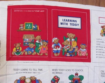 Learning with Teddy Cotton Panel, Children's learning Book