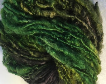 Green and Brown English Leicester  Handspun Chunky Yarn