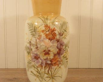 Vintage floral hand painted glass vase- signed- nice condition, ready to use