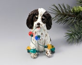 Springer Spaniel Liver Christmas Ornament Figurine Lights Porcelain
