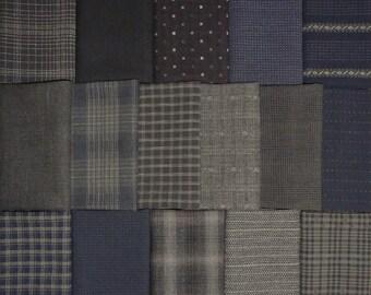 Japanese Yarn Dyed Fabrics - 16 black fat eighths