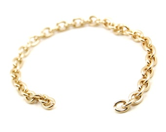 6 Inch Gold Toned Bracelet Chain with 5 x 6mm Unsoldered Links