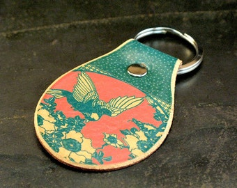 Bird botanical keychain