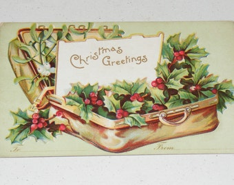 Antique Embossed Unmailed Postcard Suitcase with Holly  Christmas Greetings IAP