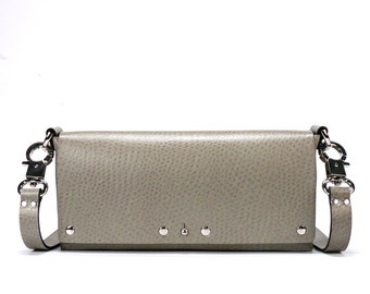 Taupe Ostrich Small Crossbody Handbag | Taupe Clutch | Vegan, Made in USA