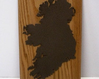 Laser Cutout of Ireland Mounted on Oak Hardwood.