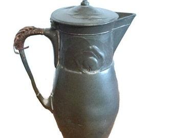 Pewter Kayserzinn pitcher or tea pot - Art nouveau - Jugendstil - 1920s - 7 inches - Caned handle