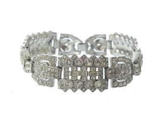 Trifari Designer Art Deco Bracelet, KTF Antique Bracelet, 1920s Vintage Rhinestone Cuff, Fine Art Deco Wedding Jewelry