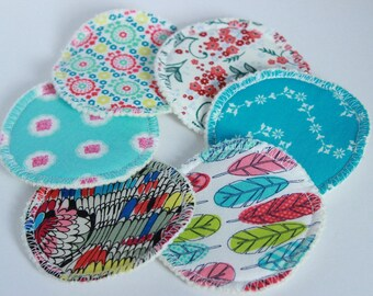 Custom, Organic cotton hemp fleece, cotton print topped, cloth, makeup remover pads,3 inch,make up cleansing pads,facial rounds, zero waste