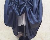 SALE Dark Blue Self Stripe Dot Full Length Bustle Skirt-One Size Fits All