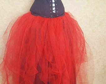 "SALE BLACK FRIDAY Sale Red Full Length Gown Bridal Tutu-To Fit Up To A 34"" Waist"