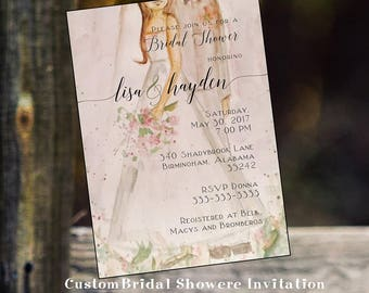 Bridal couple party  invitation custom original watercolor wedding bridal party lunch invitation flowers
