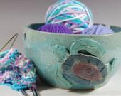 Large Pottery Yarn Bowl ,Knitting, Crochet, Sea Turtle, Turquoise Blue  Glaze