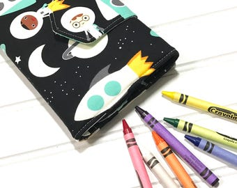 Outer space | Crayon case | Crayon wallet | Kids travel gift | kids wedding favors | space party | Crayon storage | Art party | Space lover