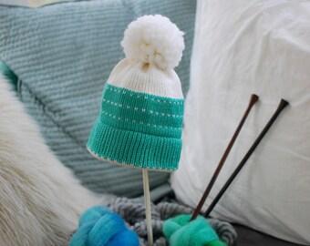 Minty Fair Isle Pompom Hat