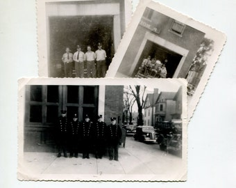 Vintage Firemen Photos 1940s Fire Truck Station House Uniforms Urban Found Vernacular Vintage Photographs City Street Firefighters