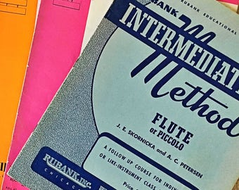 Vintage C Flute Instruction Band Books Music from the 60's Rubank First Division Band Course