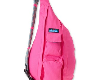Monogrammed Kavu Rope Bags - Hot Pink - Great gift for College, Teens, Women, Outdoors Satchel Crossbody Tote