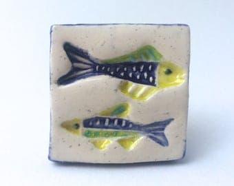 Square Fish Knob, Fish Drawer Pulls, Fish Handle, Kitchen Cabinet Knob, Bathroom Knob, Nautical Knobs, Beach House Knob, Beach House Decor