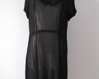 Sale - 30% - Vintage 1940s Dress - Sheer Black - 40s Dress