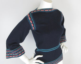 Vintage 1970s Sweater, Angel Sleeve, Boatneck, Sz S