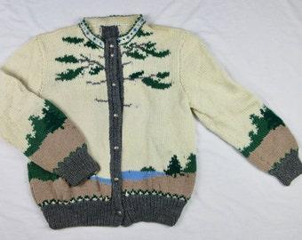 Vintage Hand Knit Cardigan, Woodland Theme, Sz M, L