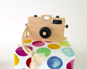 Wooden Toy Camera, Wood Camera, Toddler Toy, Handmade Toy, Baby Gift, Camera Prop, Black