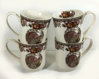 """Vintage Thanksgiving Coffee Mug, Johnson Brothers, """"Autumn Monarch"""", Made in England, Turkey Center, Brown, Multi-colored Fruit"""