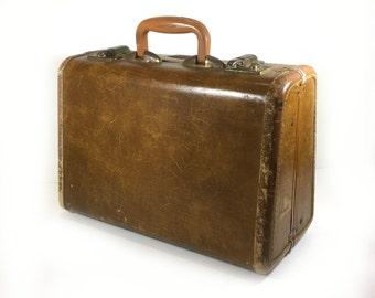 Unusual Leather-Trimmed Vintage Samsonite Suitcase - Great Rustic Patina