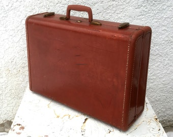 Vintage Samsonite Suitcase - Large, Oxblood, Tapered, Brass Latches, Khaki Plaid Lining
